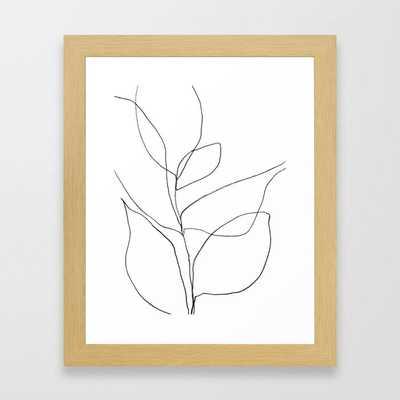 "Minimalist Line Art Plant -10"" x 12"", Natural - Society6"