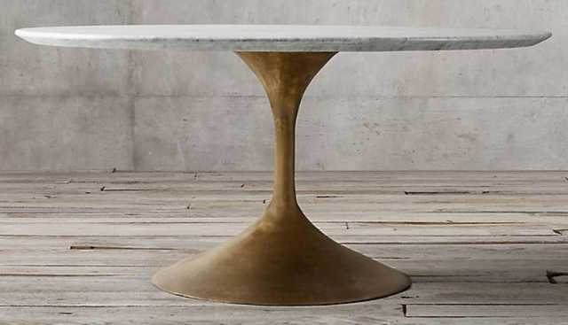 """Aero Marble Round Dining Table - Honed Carrara Marble & Antiqued Brass - 72"""" - RH"""