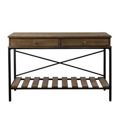 Newcastle Brown and Antique Bronze Storage Console Table, Brown/Antique Bronze - Home Depot