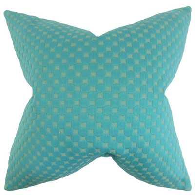 """Kasen Solid Pillow Teal, 18"""" x 18"""" w/ Insert - Linen & Seam"""