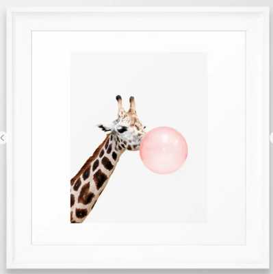 "Giraffe, Bubble gum, Pink, Animal, Nursery, Minimal, Trendy decor, Interior, Wall art Framed Art Print - 12""x12"" - Society6"