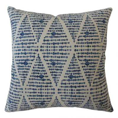 "Cahdla Geometric Pillow Blue - 18"" x 18"" - Poly insert - Linen & Seam"