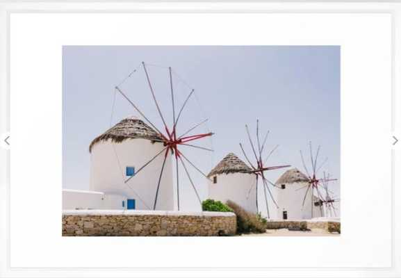 Mykonos windmills Framed Art Print - Society6