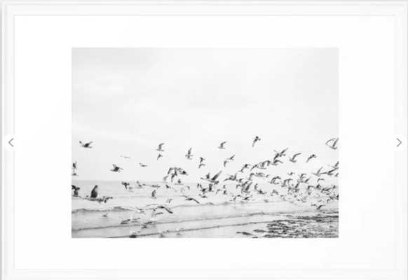 """Seagulls"" | Coastal black and white photo | Film photography | Beach Framed Art Print 26 x 38 .White Frame - Society6"