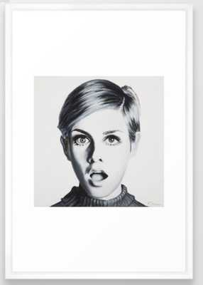 Twiggy Framed Art Print - Vector White - Society6