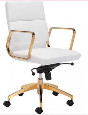 MASTER OFFICE CHAIR - White and Gold - Hollis Modern
