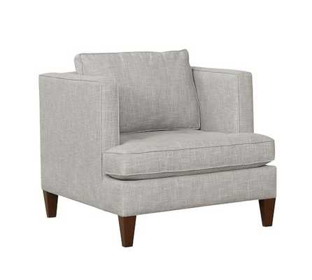 Harper Upholstered Armchair, Polyester Wrapped Cushions, Heathered Twill Stone - Pottery Barn