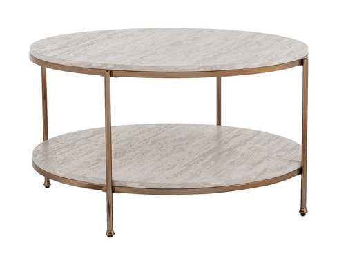 Stamper Faux Stone Coffee Table; Champagne - Wayfair