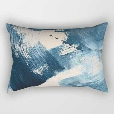 Against the Current: A bold, minimal abstract acrylic piece in blue, white and gold Rectangular Pillow - Society6