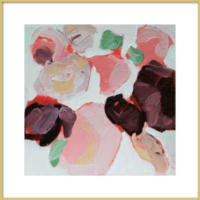 Garden Bouquet - 24'' x 24''-  Frosted Gold Metal Frame - With Matte - Artfully Walls