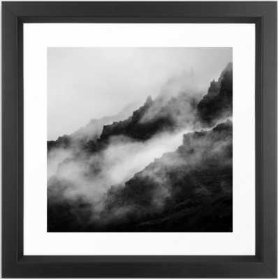 Foggy Mountains Black and White Framed Art Print - Society6