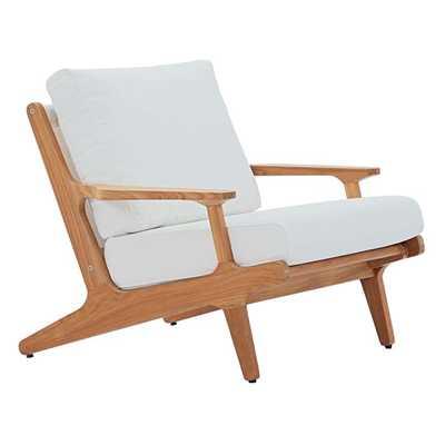 SARATOGA OUTDOOR PATIO TEAK ARMCHAIR IN NATURAL WHITE - Modway Furniture