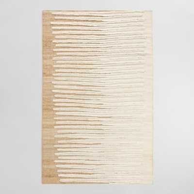 Ivory Wool Zigzag Flatweave Wool Nolen Area Rug - 5Ftx8Ft by World Market 5Ftx8Ft - World Market/Cost Plus