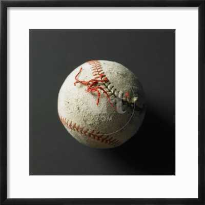 an old baseball with its stich ripped - art.com