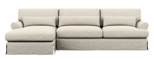 Maxwell Slipcovered Chaise Sectional with Wheat Fabric and Oiled Walnut with Brass Cap legs - Interior Define
