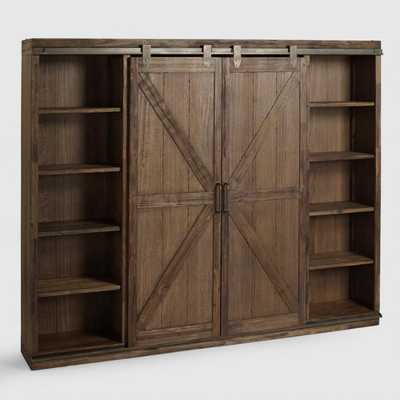 Wood Farmhouse Barn Door Bookcase: Brown by World Market - World Market/Cost Plus