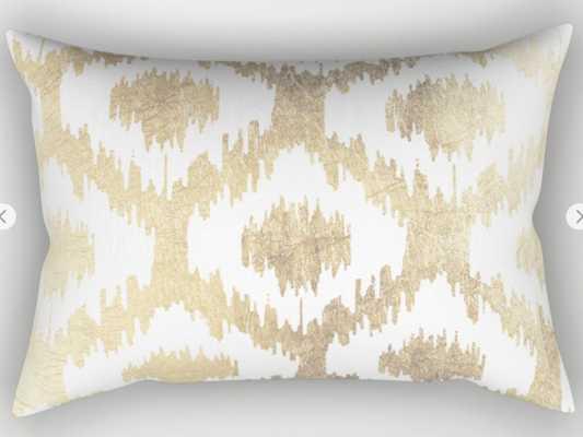 Modern White Hand Drawn Ikat Pattern Faux Gold Pillow Sham by Pink_water- 20x14 - Society6