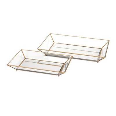 Maison Decorative Glass Trays - Set of 2 - Mercer Collection