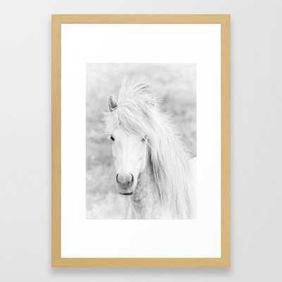 Wild Free White Horse, Animal Wall Art, Horse Wall Art, Horse Photography Framed Art Print, 15 x 21 Natural - Society6
