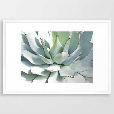 """Agave plant Framed Art Print - 26"""" x 38"""" - Vector White - Society6"""