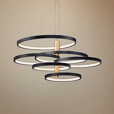 "ET2 Hoopla 45 1/4""W Black and Gold 6-Light LED Pendant Light - Lamps Plus"