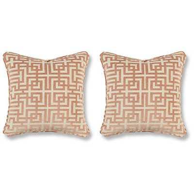 S/2 Asian Trail Pillows, Blush - One Kings Lane