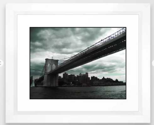 "Brooklyn Bridge Framed Art - Vector White Frame 10"" x 12"" - Society6"