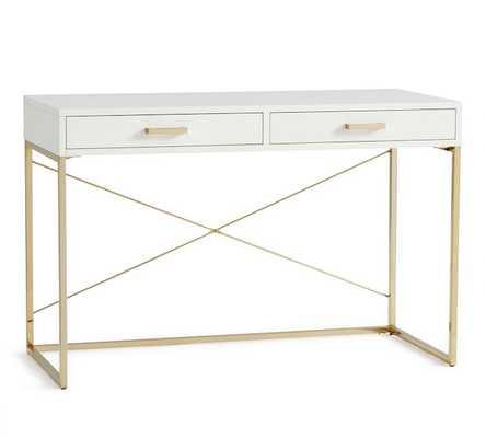 Tinsley Desk, White/Brass - Pottery Barn