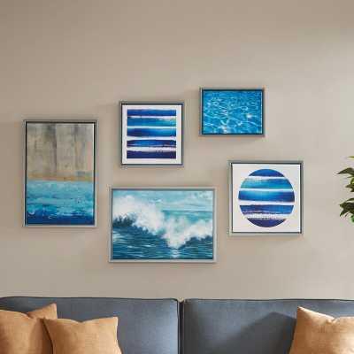 'Water Tide Gallery' 5 Piece Framed Graphic Art Print Set on Canvas - AllModern