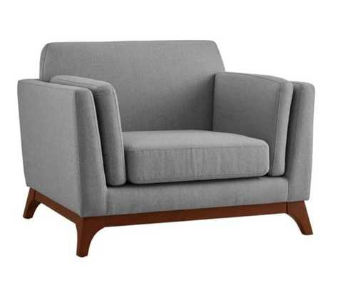 CHANCE UPHOLSTERED FABRIC ARMCHAIR IN LIGHT GRAY - Modway Furniture