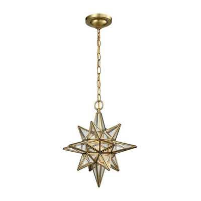 ELK Beamer 1 Light Pendant In Brushed Brass - 72154-1 - Rosen Studio
