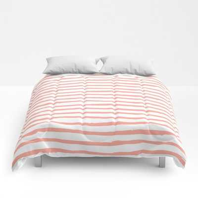 Pink Drawn Stripes Comforters - Full - Society6