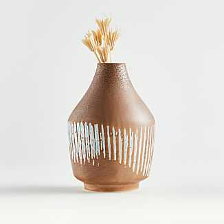 Scoville Small Tan and Blue Vase - Crate and Barrel