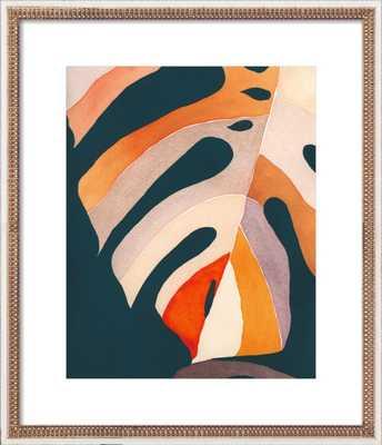 Rainbow Monstera - 20x24 Distressed Cream Double Bead Wood - Artfully Walls