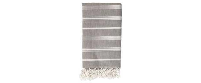 Cotton Throw Blanket - Gray with White Stripes - 3R Studios - Target