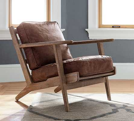 Raylan Leather Armchair, Down Blend Wrapped Cushions, Havana Brown - Pottery Barn