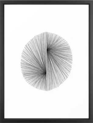 "Mid Century Modern Geometric Abstract Radiating Lines Framed Art Print- Vector Black frame 20"" x 26"" - Society6"
