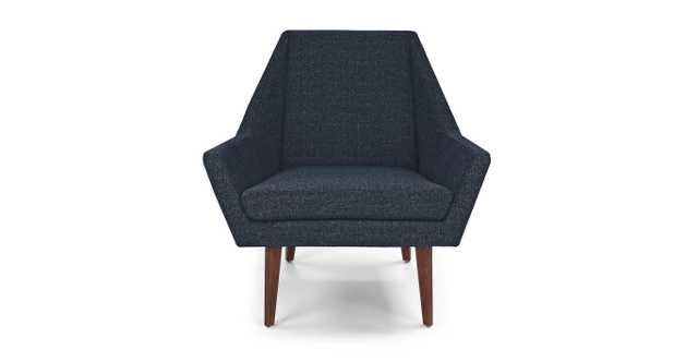 Angle Denim Blue and Walnut Chair - Article