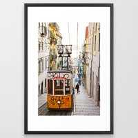 Lisbon summer day and vintage tram urban city street photography Framed Art Print - Society6