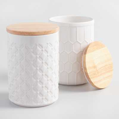White Textured Ceramic Canisters with Bamboo Lids Set of 2 by World Market - World Market/Cost Plus