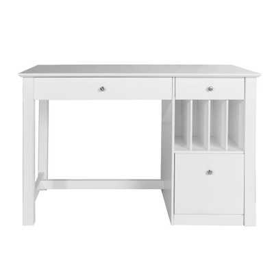 Clara White Desk with Hutch - Home Depot