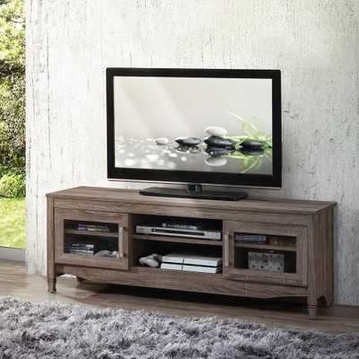 Gray Driftwood with Shelving and Storage Cabinet TV Stand - Home Depot