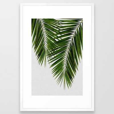 Palm Leaf Black & White Ii Framed Art Print - vector white - Society6