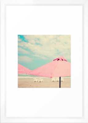"Pale Pink Umbrellas Framed Art, Vector White, 15"" x 21"" - Society6"