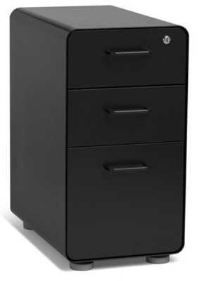 Black Slim Stow 3-Drawer File Cabinet - Poppin