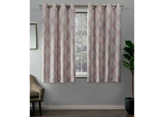 "Set of 2 / Pair Medallion Blackout Thermal Grommet Top Window Curtain Panels Exclusive Home - Blush Pink - 63""L - Target"