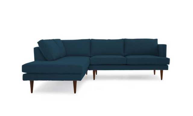 Blue Preston Mid Century Modern Sectional with Bumper (2 piece) - Sunbrella Premier Lagoon  - Mocha - Left - Joybird