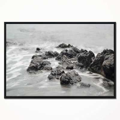 ''Black and White Rocky Coastline' Framed Photographic Print on Wrapped Canvas - Wayfair