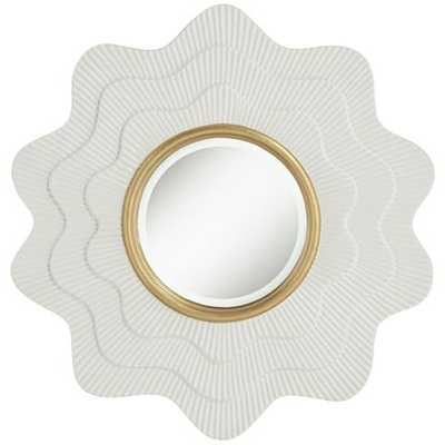 """Camellia White and Gold 35"""" x 35"""" Wave Wall Mirror - Lamps Plus"""
