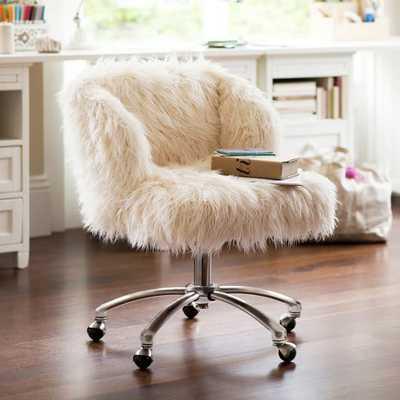 Ivory Furlicious Wingback Desk Chair - Pottery Barn Teen